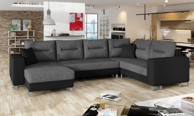 Kvalitná rohová sedačka Dorris, čierna / sivá