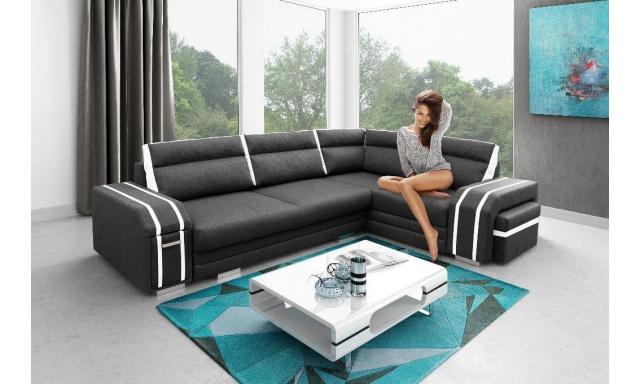 Luxusné rohová sedačka Aventador, čierna
