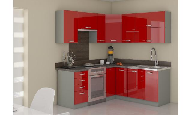 Rohová kuchyne Rosso 190x170cm, červený lesk
