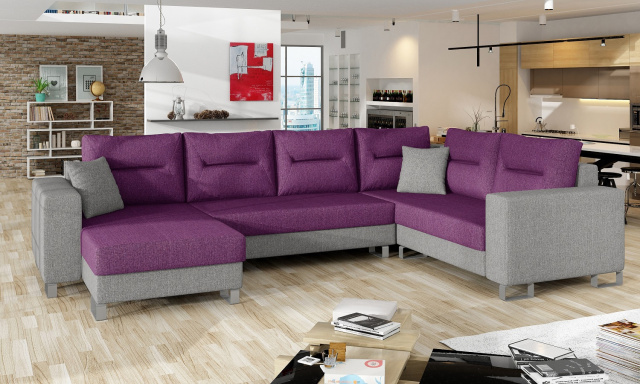 Kvalitná rohová sedačka Dorris, sivá / fialová