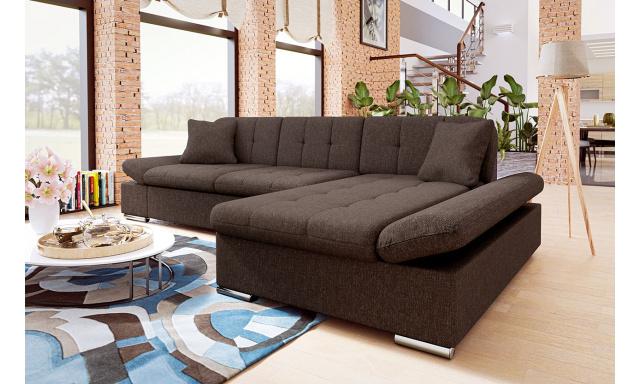 Moderná rohová sedačka Malaga, hnedá