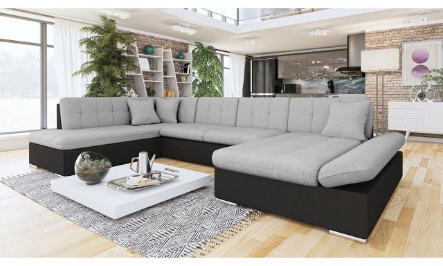 Luxusná sedačka v tvare U Bravo, čierna / sivá