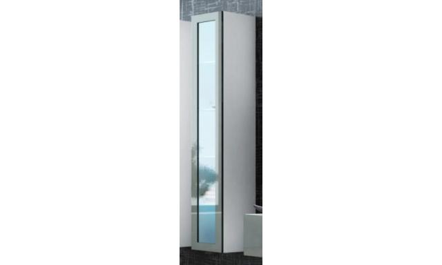 Závěsná vitrína Igore 180 sklo, bílá/šedý lesk