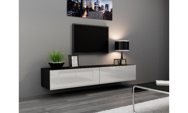 Moderný TV stolík Igore 180, černá/bílý lesk