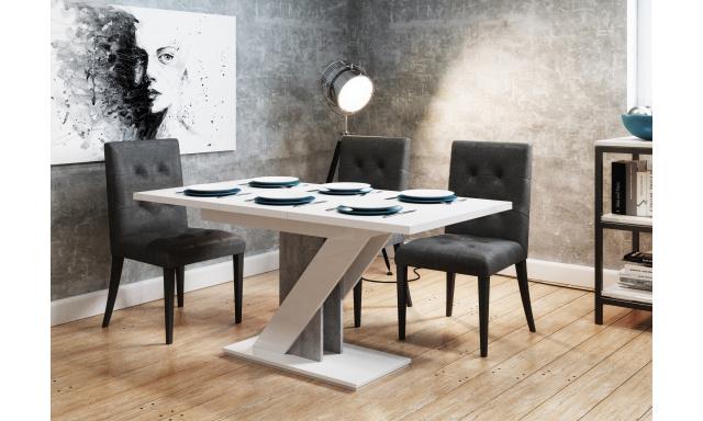 Rozkladací jedálenský stôl Merida, biely lesk