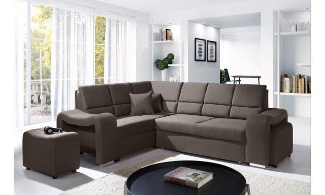 Moderná rohová sedačka Wake + taburetom hnedá