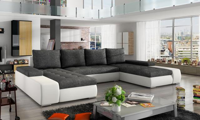 Moderná rohová sedačka Maroko, biela / sivá
