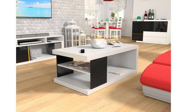 Konferenčný stôl Perro, biely / čierny lesk