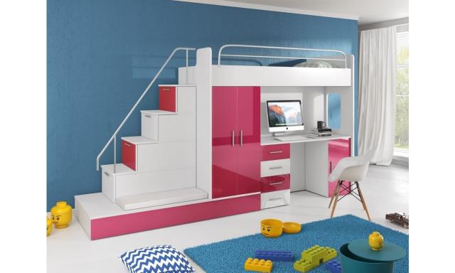 Detská izba Rimini, biela / ružový lesk