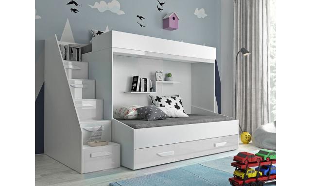 Detská posteľ pre 2 deti Paros, biela / biely lesk