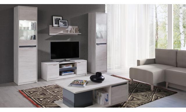 Bytový nábytok Drake C, dub biely / grafit lesk