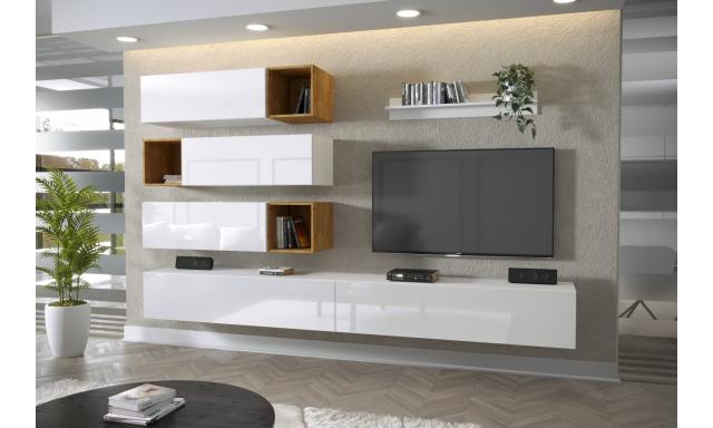 Moderný bytový nábytok Premio H, biela / biely lesk