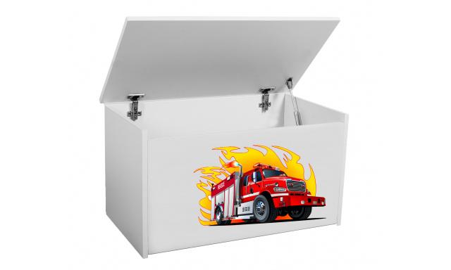 Box na hračky Denia, biely + hasiči