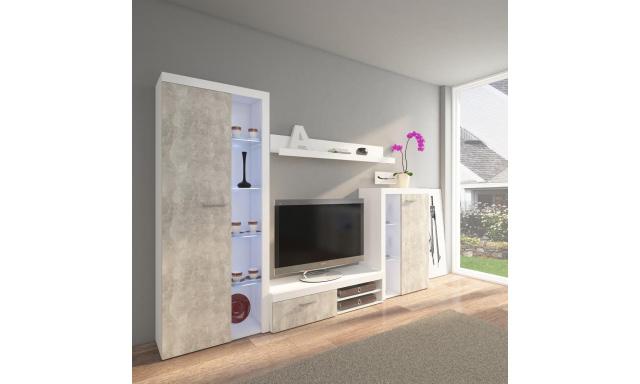 Moderná obývacia stena Rask, betón svetlý