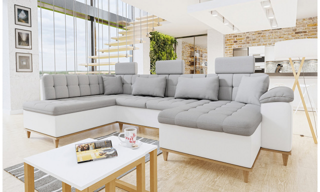 Luxusná sedacia súprava Falun, biela / svetlosivá