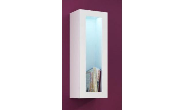 Závěsná vitrína Igore 90 sklo, bílá/bílý lesk