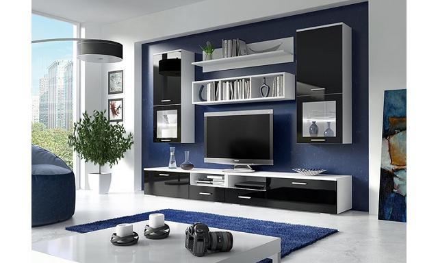 Obývacia stena Ideko biela / čierna