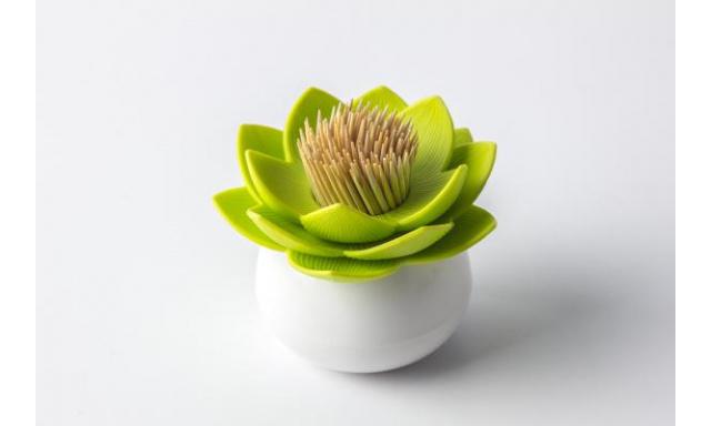 Stojanček na špáradlá Qual Lotus Toothpick Holder, biely-zelený