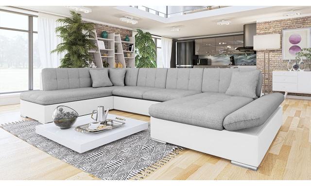 Luxusná sedačka v tvare U Bravo, biela / sivá