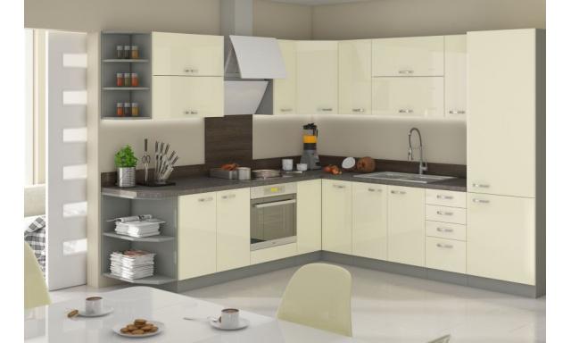 Luxusní rohová kuchyně Carpos, krémový lesk