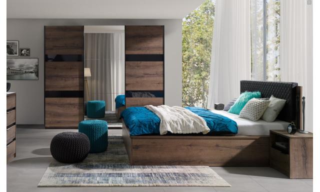 Spálňový nábytok Drake A, dub monastery / čierny lesk