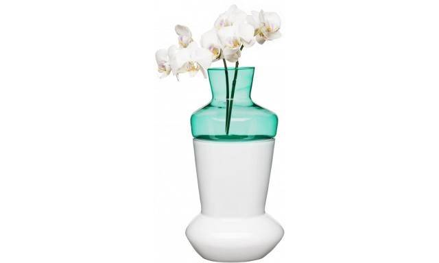 Dvojdielna váza SAGAFORM Duo, biela / tyrkysová