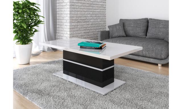Moderný konferenčný stôl Marika, biely lesk / čierny lesk