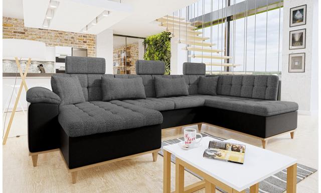 Luxusná sedacia súprava Falun, čierna / sivá