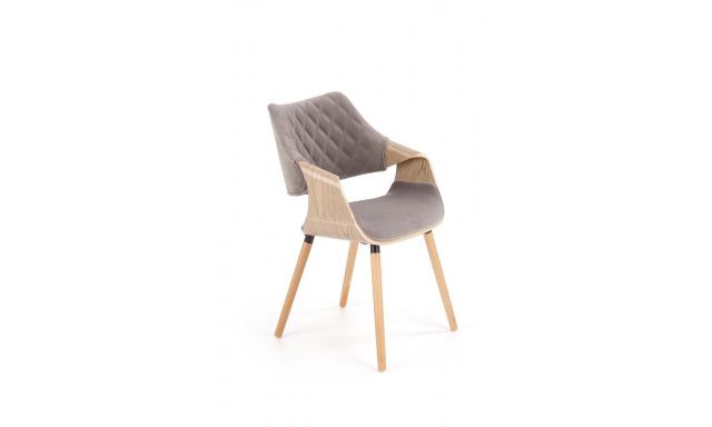 Moderní jídelní židle H2099, dub / šedá látka
