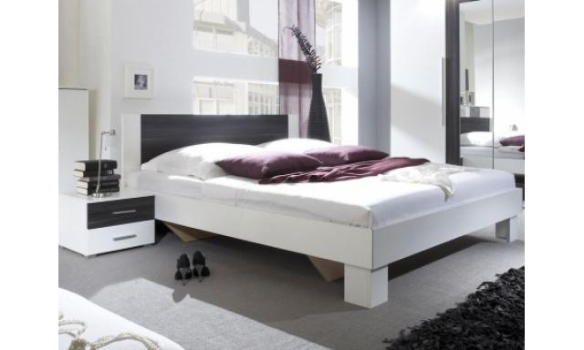 Postel Veronika + 2x noční stolek, bílá/ořech černý