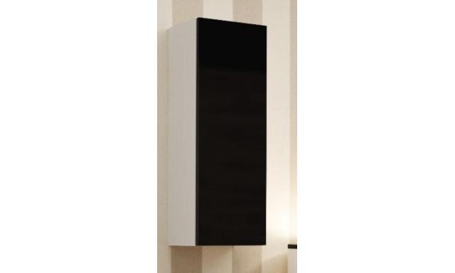 Závěsná skřínka Igore 90 plná, bílá/černý lesk
