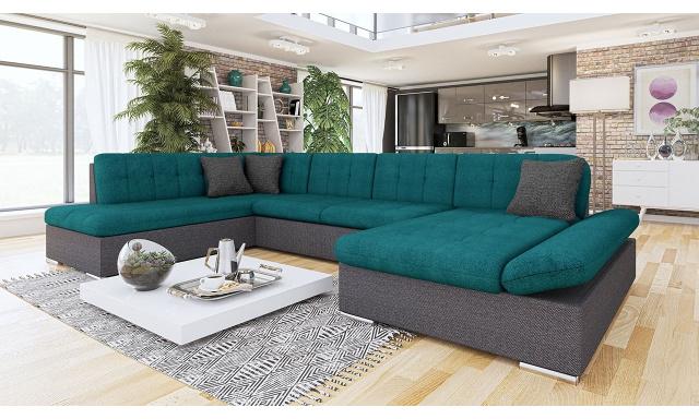 Luxusná sedačka v tvare U Bravo, sivá / zelená