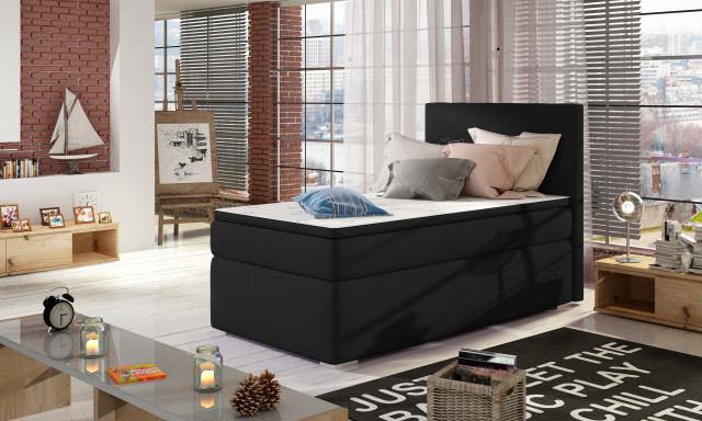 Moderná box spring posteľ Rimini 90x200, čierna