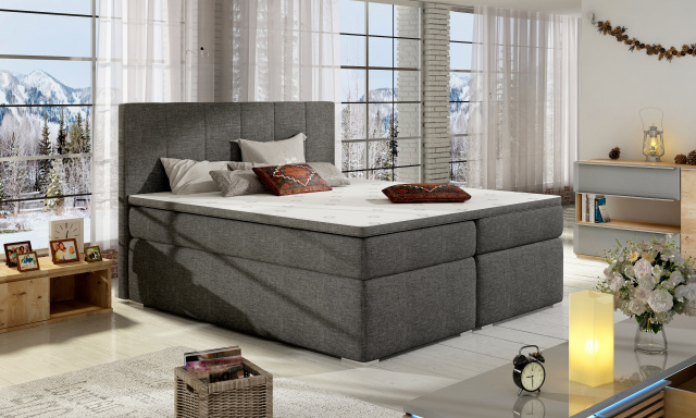 Moderná box spring posteľ Borles 180x200, šedá