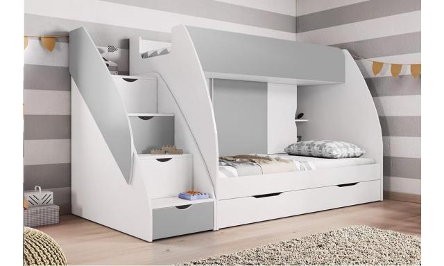 Poschodová detská posteľ Martina, biela / sivá