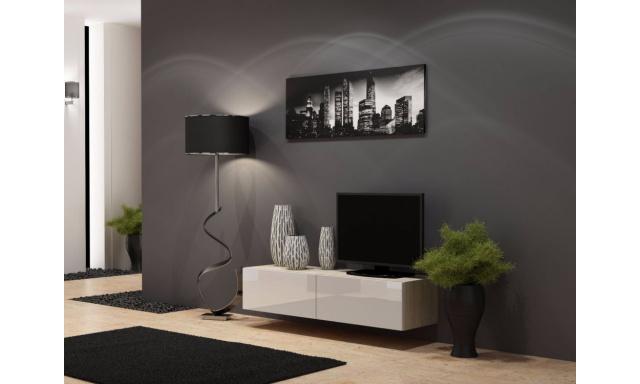 Moderný TV stolík Igore 140, sonoma/bílý lesk