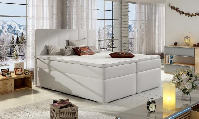 Moderná box spring posteľ Borles 180x200, biela
