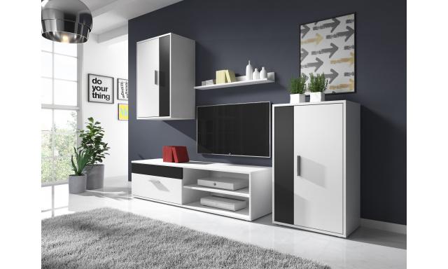 Moderná obývacia stena Toreto, biela / čierna