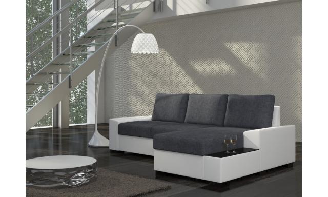 Moderná rohová sedačka Norco, biela / sivá