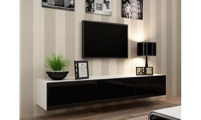 Moderný TV stolík I Igore 180, bílá/černý lesk
