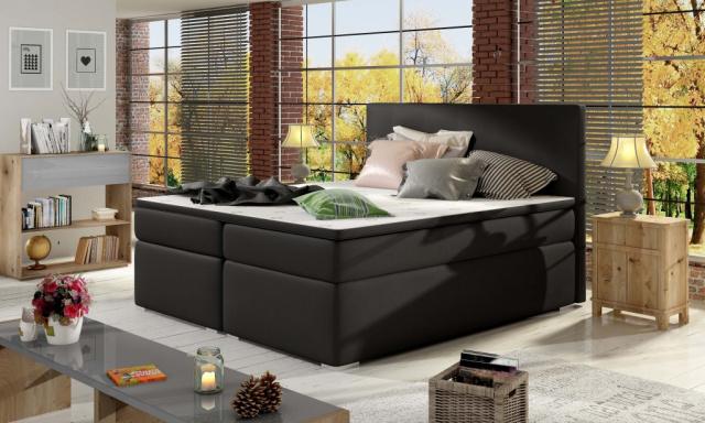 Moderná box spring posteľ Dive 180x200, čierna