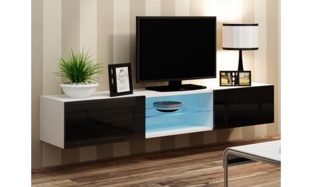 Moderný TV stolík Igore 180 GLASS, bílá/černý lesk