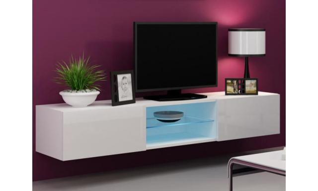 Moderný TV stolík Igore 180 GLASS, bílá/bílý lesk