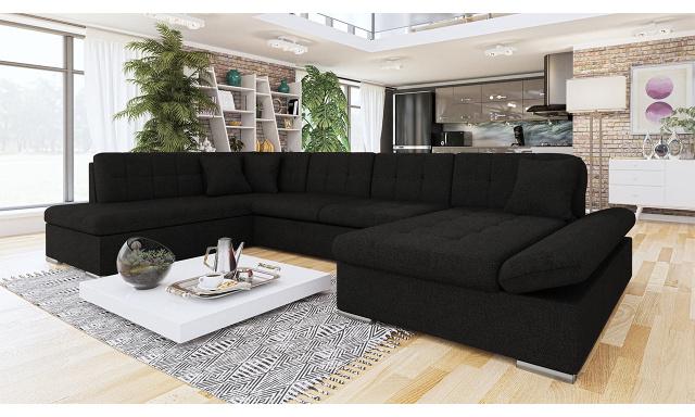 Luxusná sedačka v tvare U Bravo, čierna
