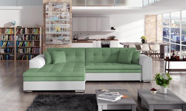 Moderná rohová sedačka Santos, biela / zelená