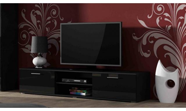 Moderný televízny stolík Zita 180, čierna / čierny lesk