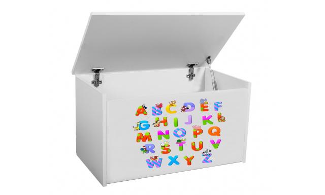 Box na hračky Denia, biely + abeceda