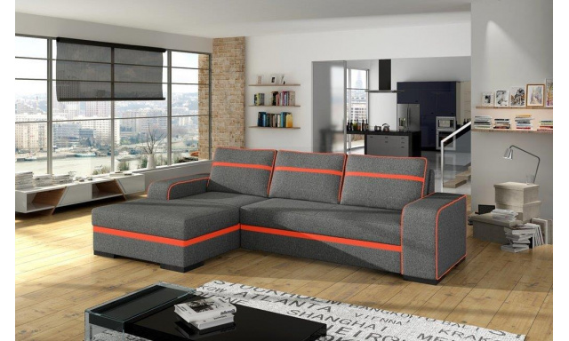 Moderná rohová sedačka Fons, sivá / oranžová