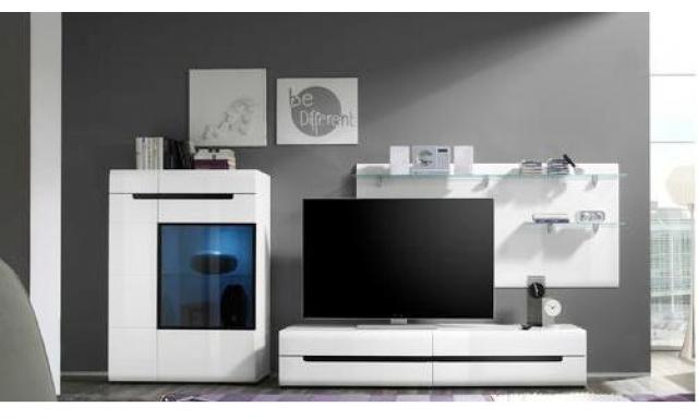 Luxusné obývacia stena Helios A, biely lesk