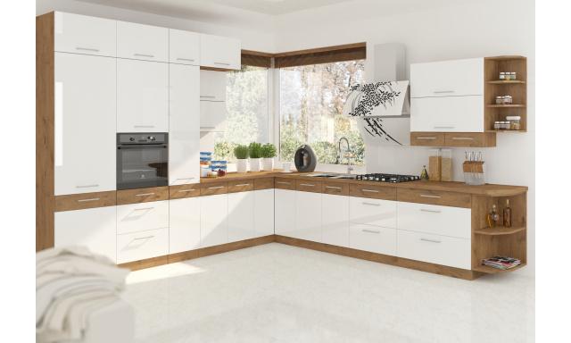 Luxusné rohová kuchyne Verizon, dub Lancelot / biely lesk